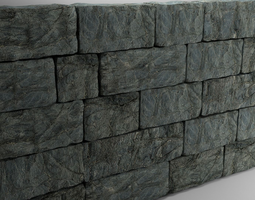High Poly Natural Stone Wall 3D model