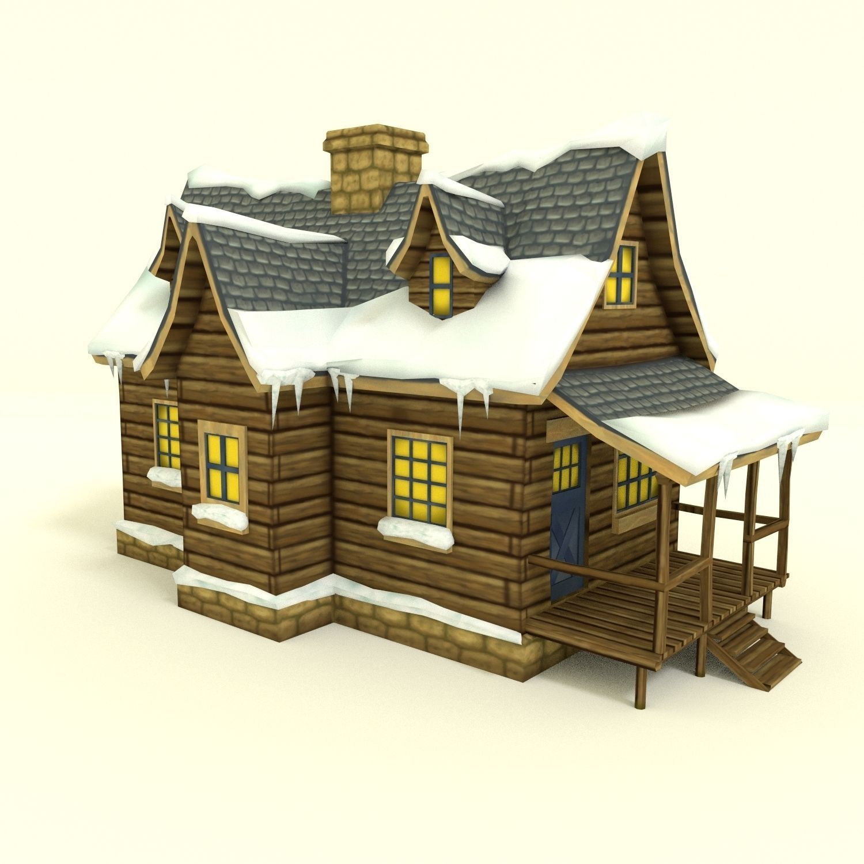 Low Poly Winter House 3d Model Obj 3ds Fbx Blend Dae 1