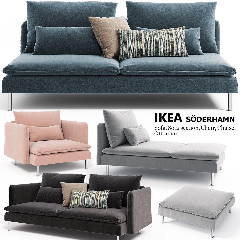 Astounding Sofa Armchair Couch Ottoman Ikea Soderhamn 3D Model Inzonedesignstudio Interior Chair Design Inzonedesignstudiocom