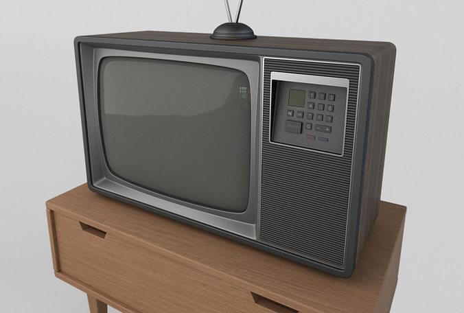 old retro tv 3d model max obj 3ds fbx mtl 1