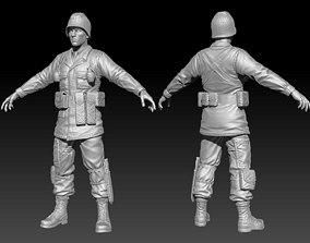 American Soldier World War high Poly 3D