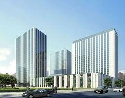 3d model city hotel office building  100