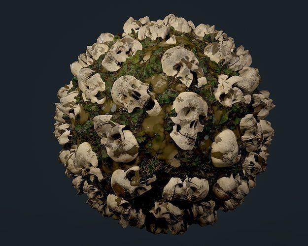skulls bones seamless pbr texture 09 3d model obj mtl 1