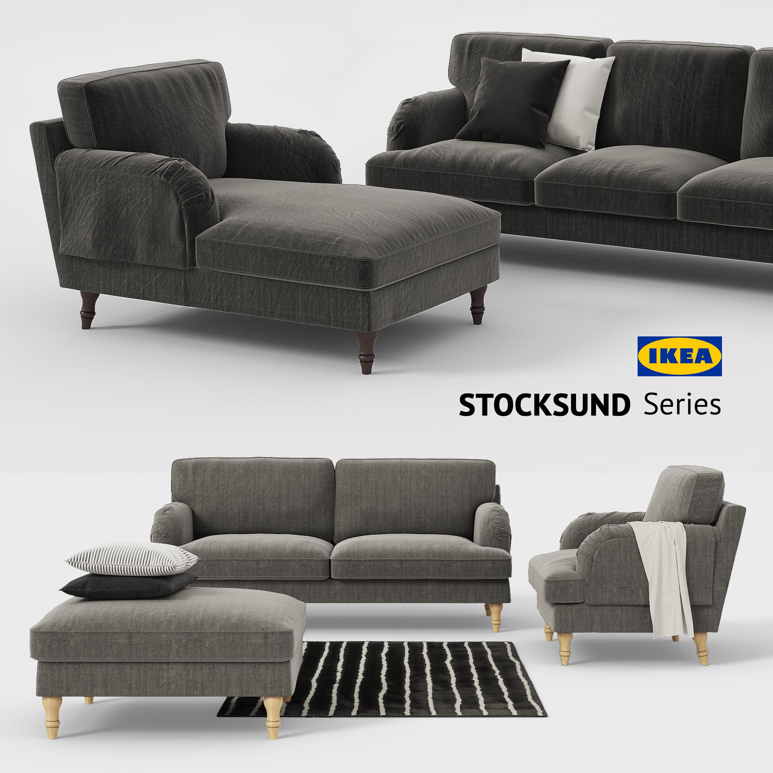 Ikea STOCKSUND sofa chair ottoman chaise sofa cover | 3D model
