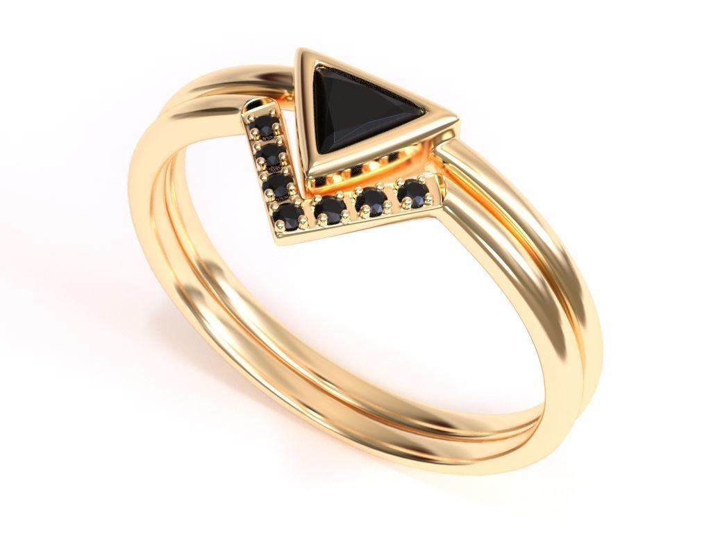 Trillion Black Diamond Ring with Black Diamond Band