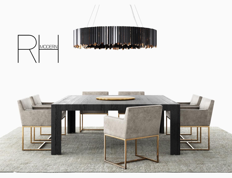 Rh Emery Track Modern Dining Set Tom Kirk Chandelier Rug 3d Model