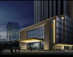 luxurious hotel bulding 3d model max