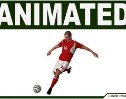 White Soccer Player Hi-Poly 3D Model