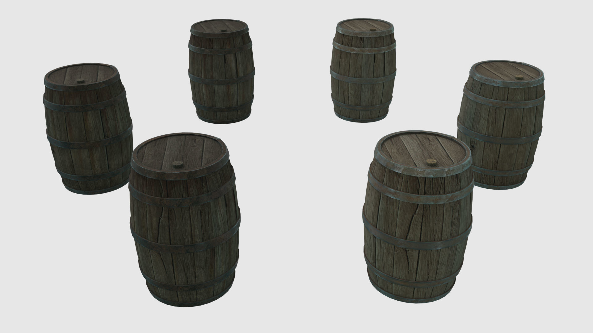 Low Poly Wooden Barrels With PBR Materials