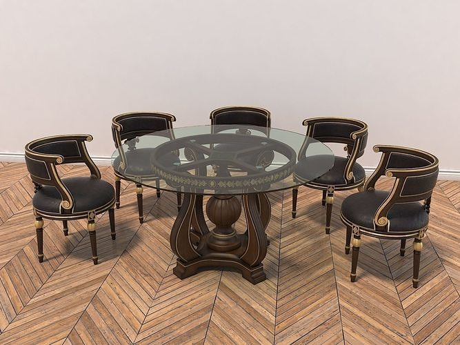 european style carving dinning table 2 3d model max obj mtl fbx 1