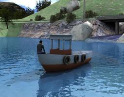 3D asset Lowpoly Boat