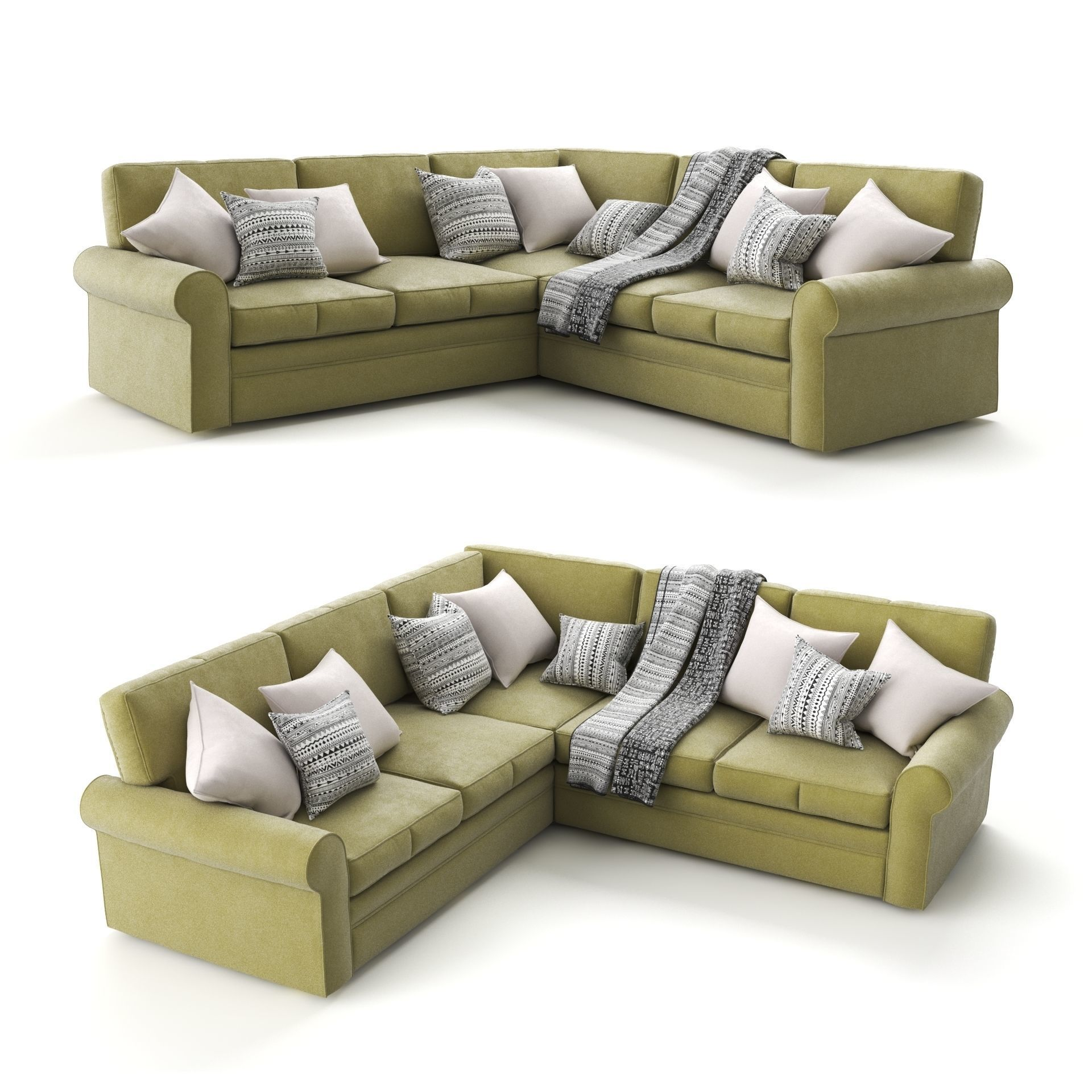 3D Green Corner Sofa by Century Furniture   CGTrader