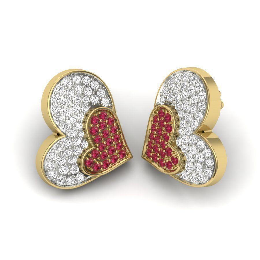 Women heart earrings 3dm detail 3D print model