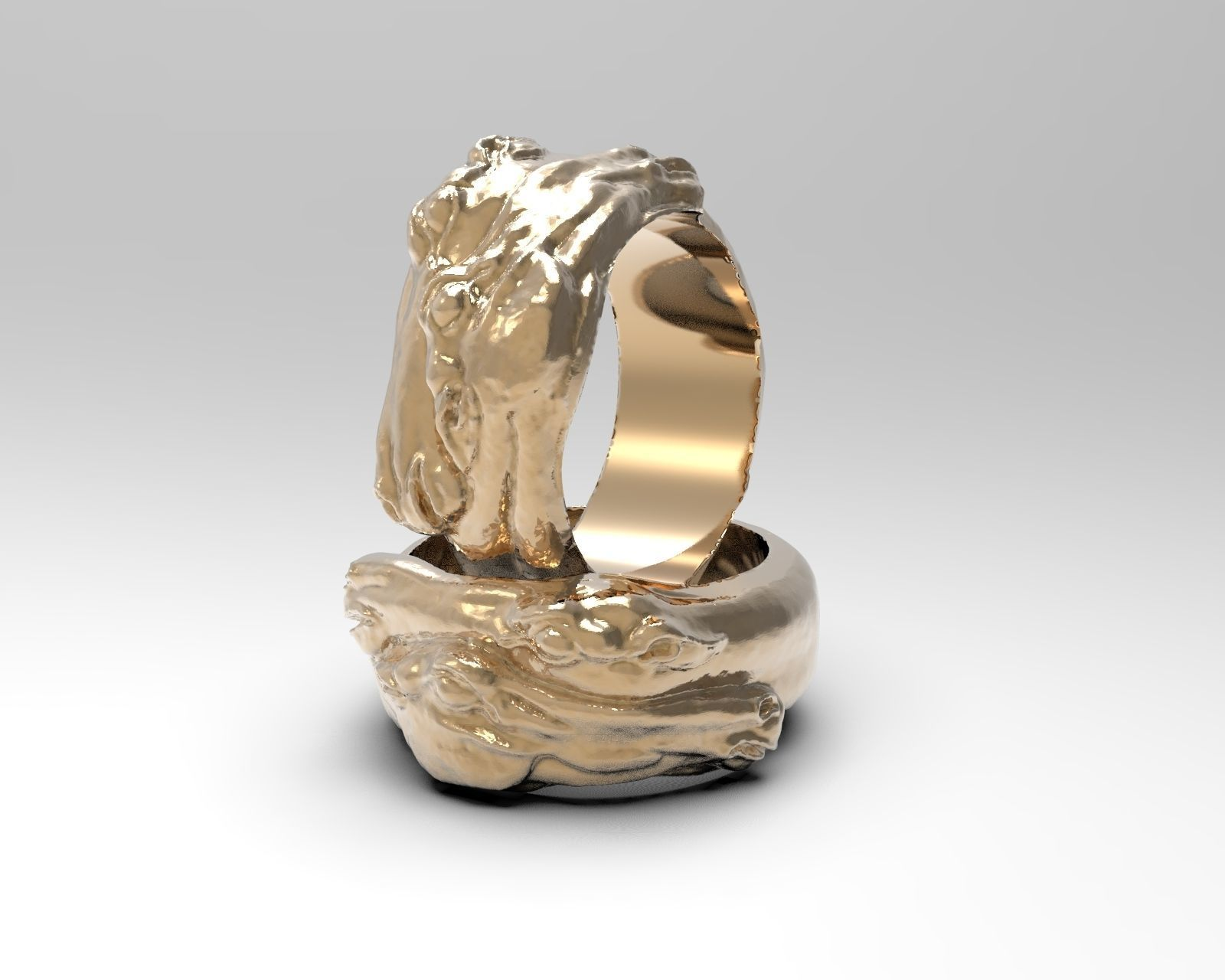 Ring with two horse heads
