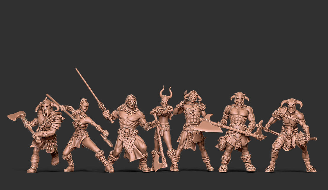 Barbarian bundle - 7 miniatures - 35mm scale