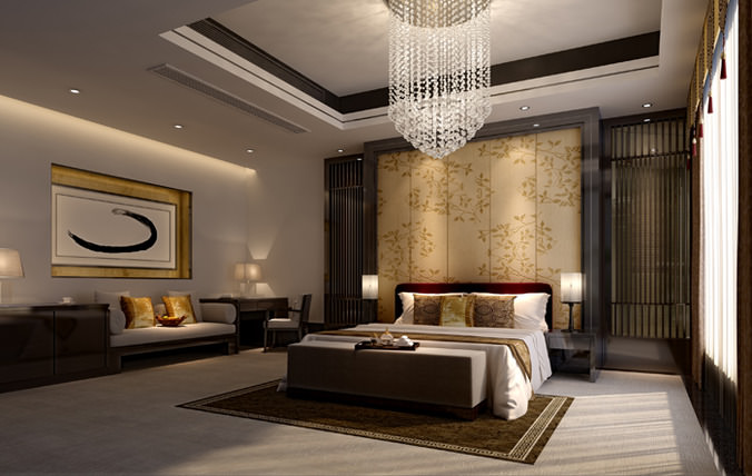 3d spacious hotel bed room cgtrader for 3d room design website
