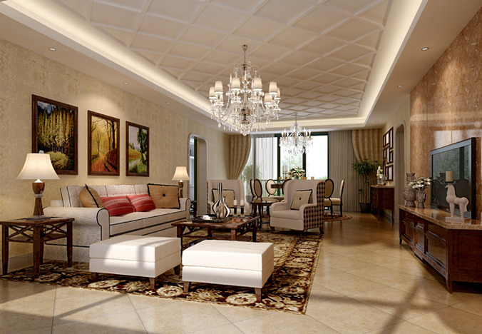 living room with paintings 3d model max