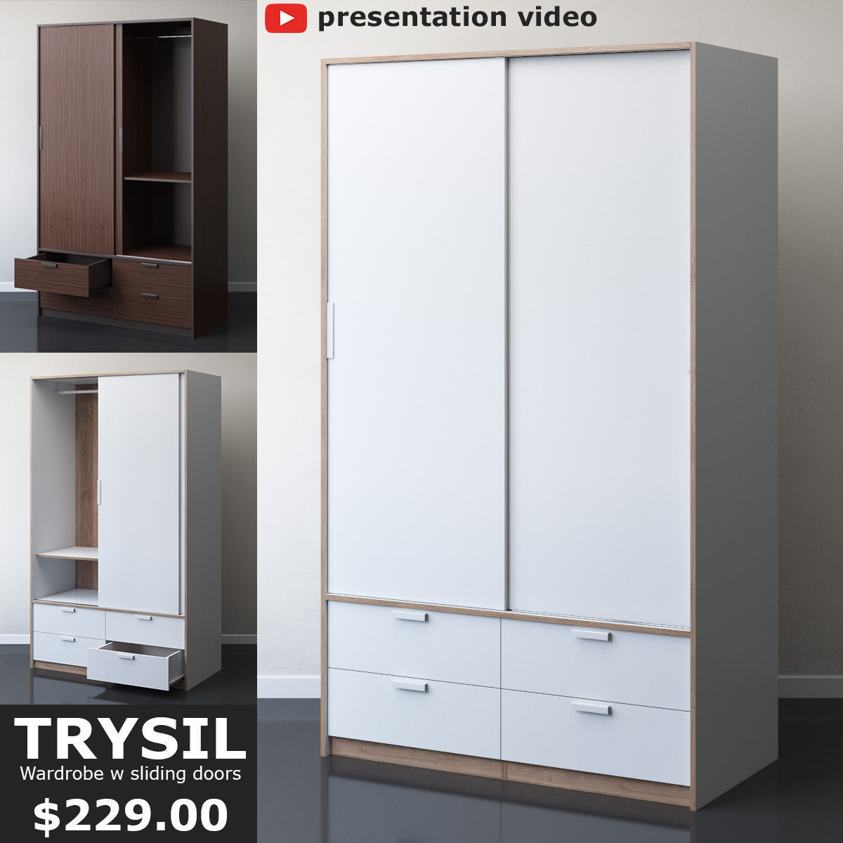 Ikea Trysil Wardrobe With Sliding Doors 3d Model