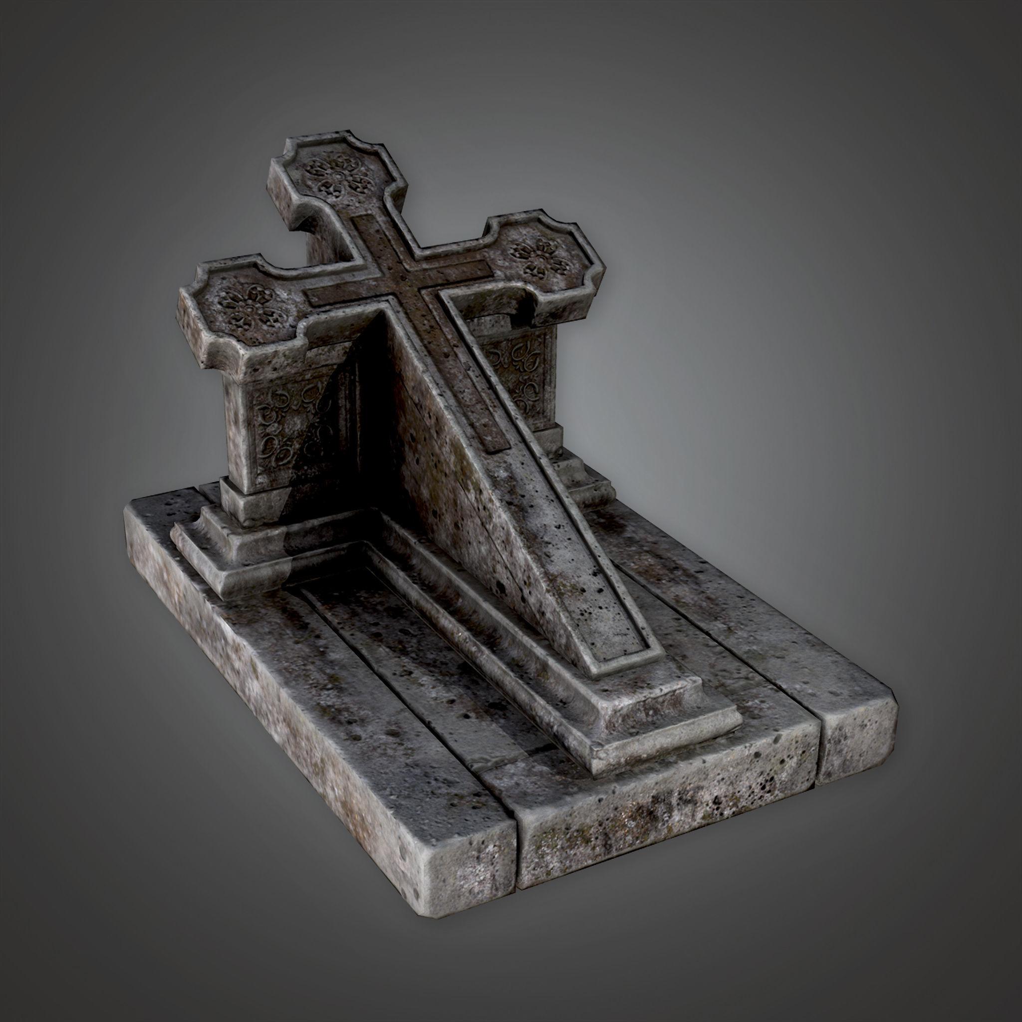 CEM - Grave Stone Cemetery 14 - PBR Game Ready