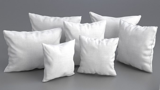 Solid Pillow Set 3d Model Obj 3ds Fbx Dae Mtl