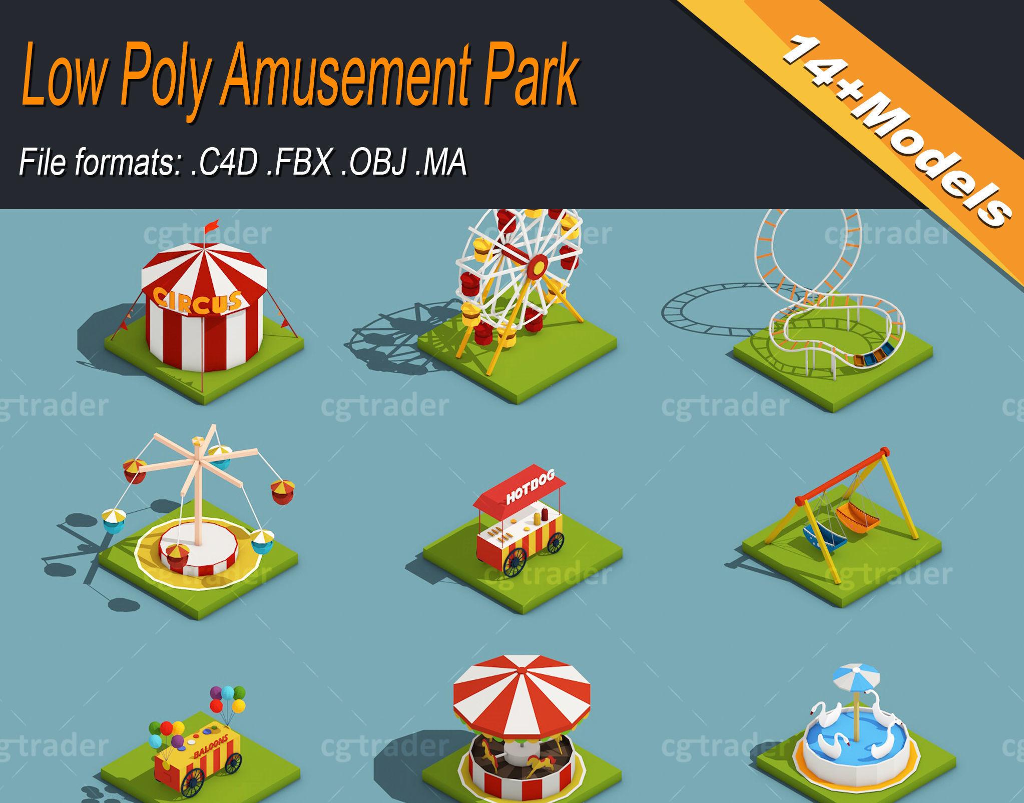 Low Poly Amusement Park Isometric Icon