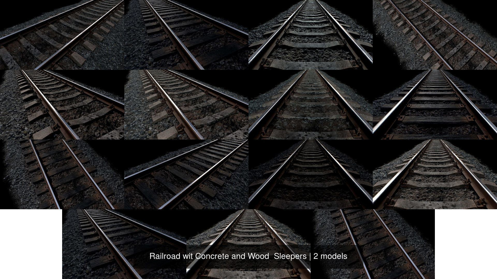 Railroad wit Concrete and Wood  Sleepers
