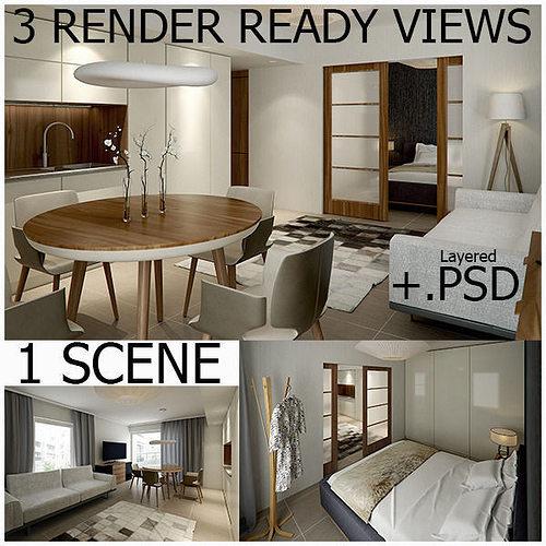 3d Max Kitchen Interior Design: Interior Vray Scene With 3 RenderReady Views 3D Model MAX