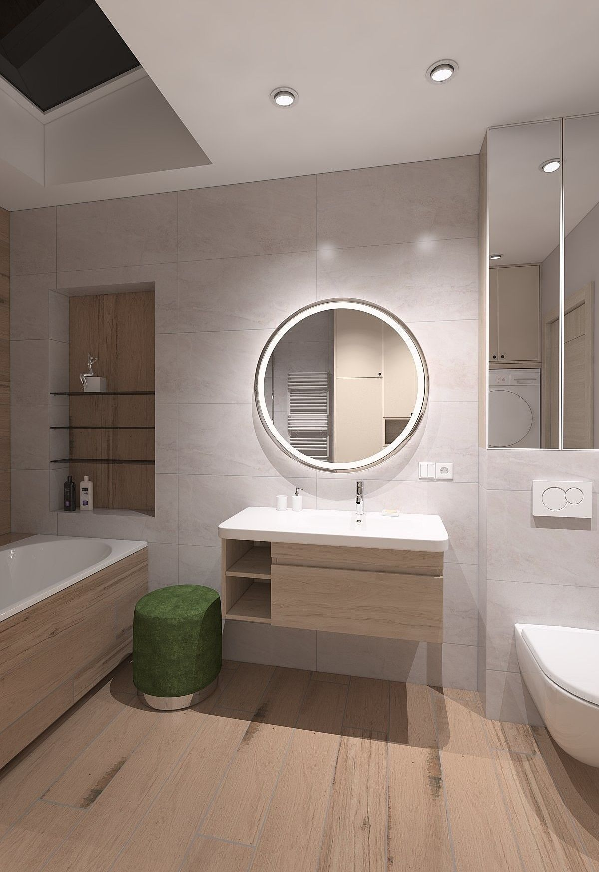 Spacious bathroom with wood imitation tile 3D model on Bathroom Model  id=21089