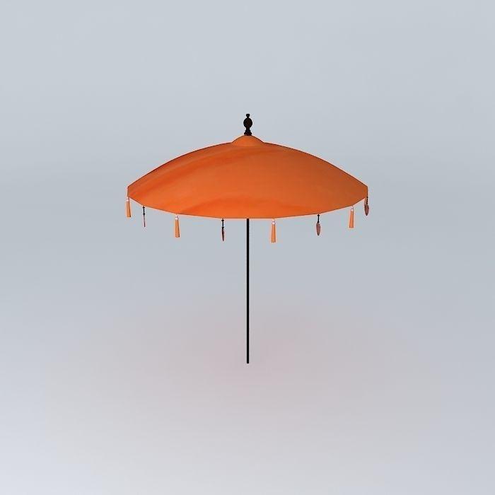 Parasol orange Balinese houses of the world 3D model MAX OBJ MTL
