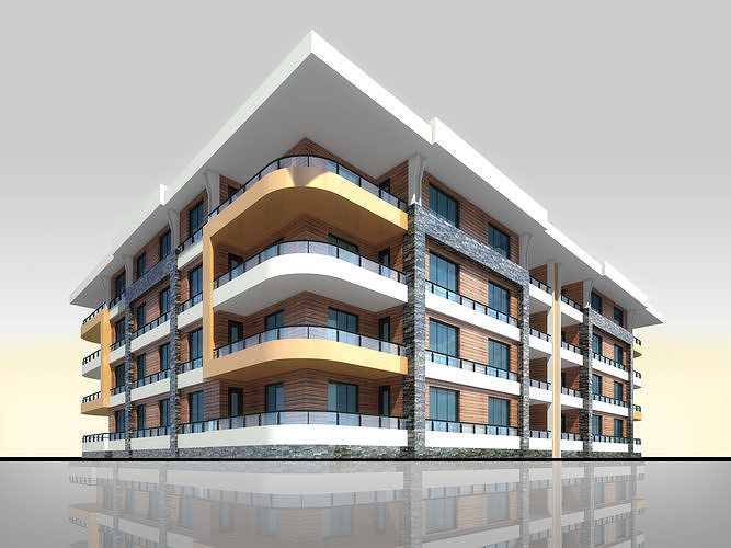 U Type Planning Architectural 3d Model with Render Scene