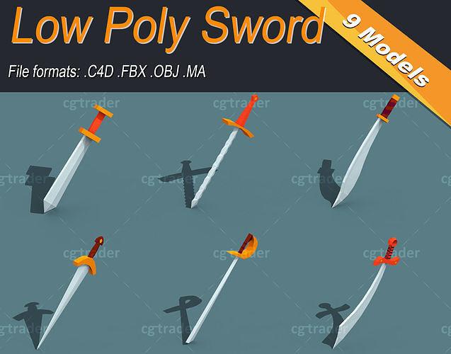 Low Poly Sword Isometric Icon
