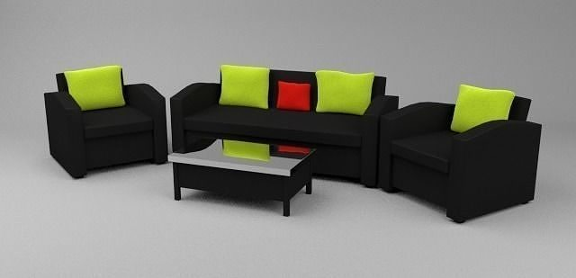 sofa and chairs with a table