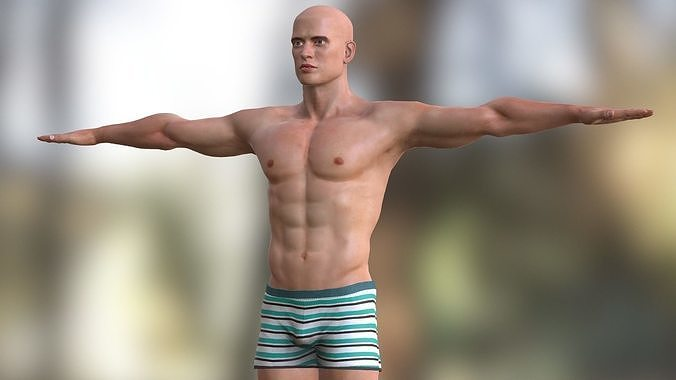 high poly male character