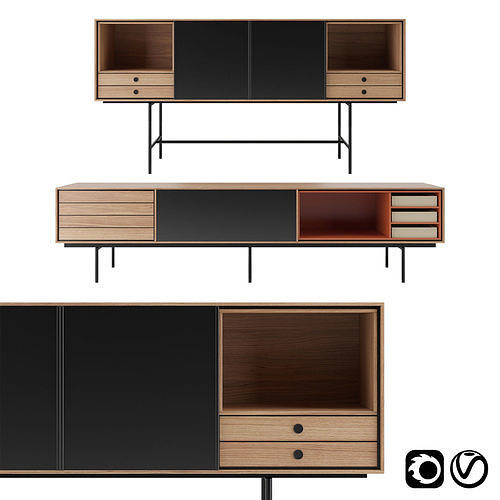 Aura Sideboard with adjustable front panel by Treku