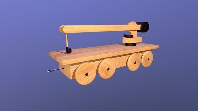 Wooden Toy Train - Crane Wagon