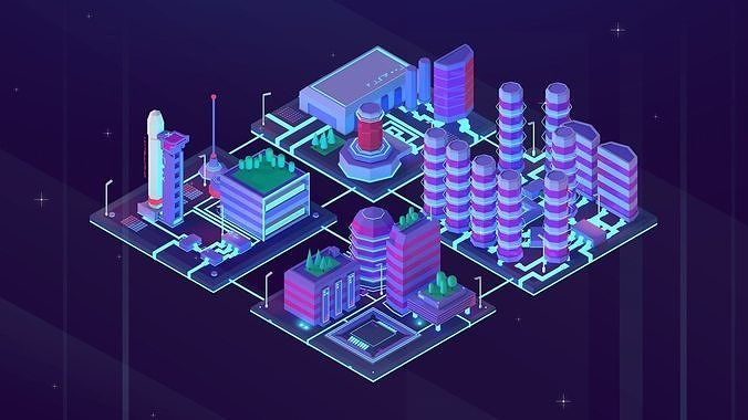 Cartoon Low Poly Sci-Fi Space City Pack