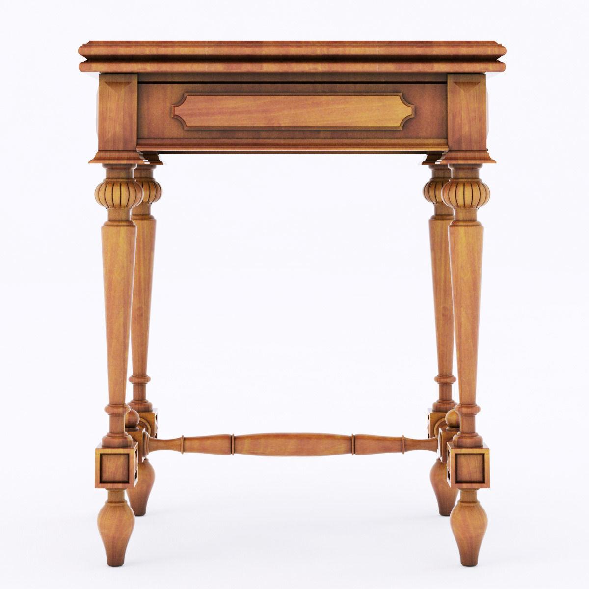 Antique wood table 3d model max obj 3ds fbx mtl for Table 3d model
