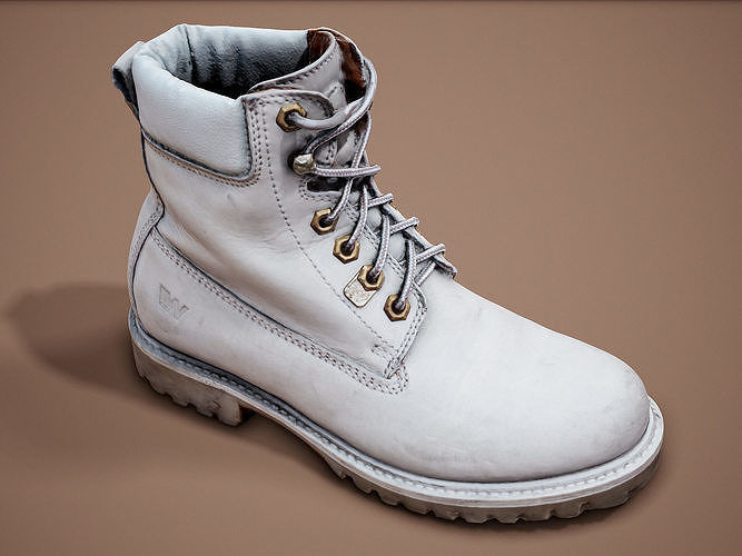 Female White Leather Boots