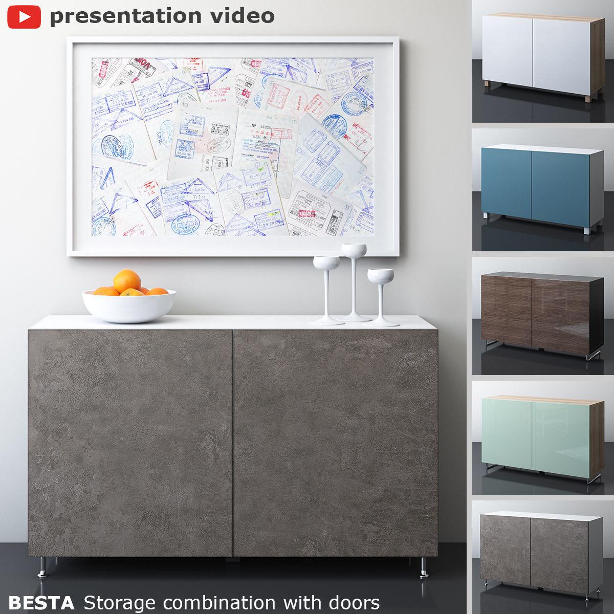 3D Model IKEA BESTA Storage Combination With Two Doors