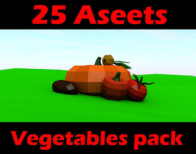 Fruit and vegetables low poly pack