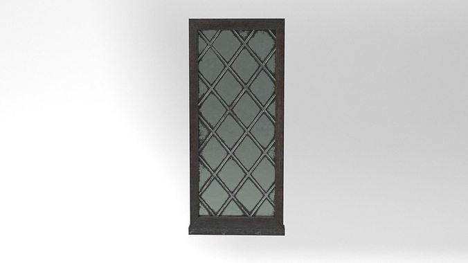 Medieval Window Single Lead Diamond Glass 3D Model Tudor