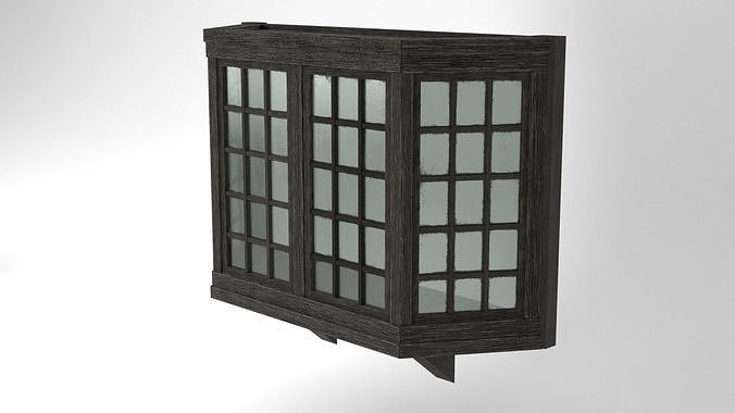 Medieval Bay Window Glass and Wood 3D Model Tudor