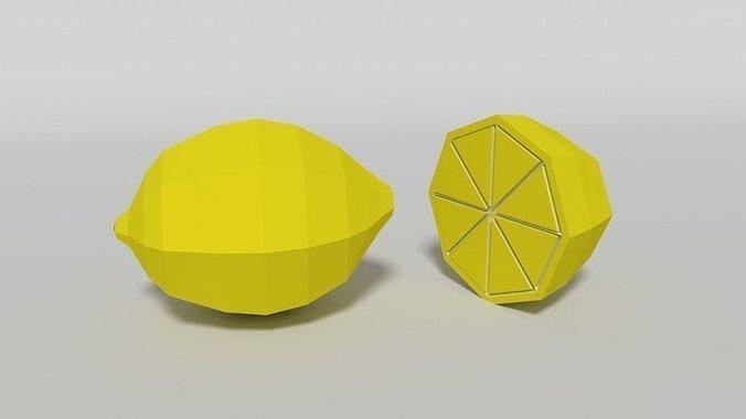 Low Poly Cartoon Lemon