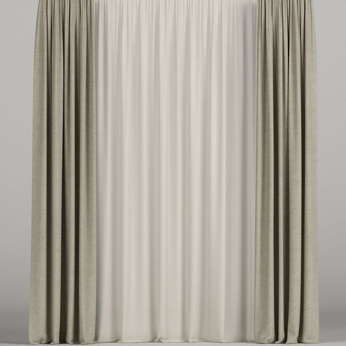 Beige curtains with beige tulle