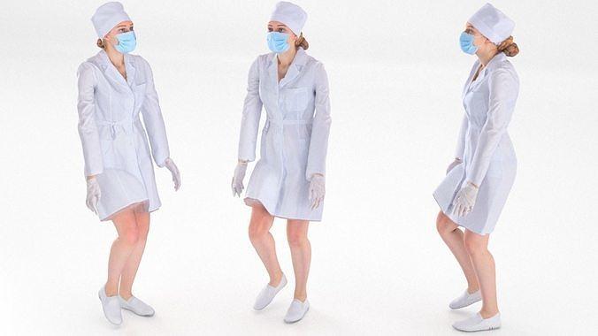 Scan rigged female medical nurse 01