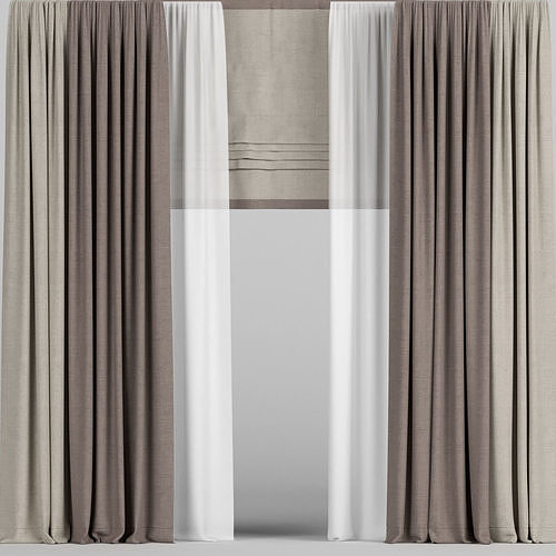 Curtains in two colors with tulle and roman blinds