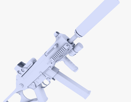 UMP 45 Submachine Gun Supressed 3D asset