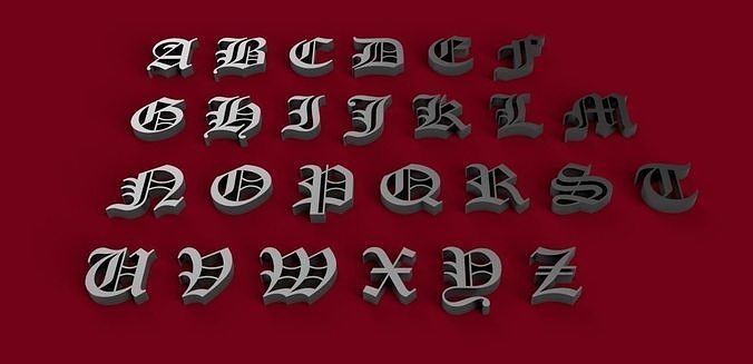 OLD ENGLISH font uppercase and lowercase 3D letters STL file