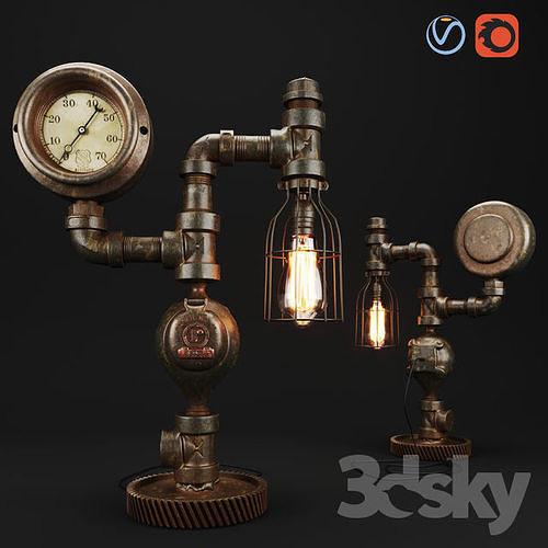 Steampunk Steam Gauge Lamp