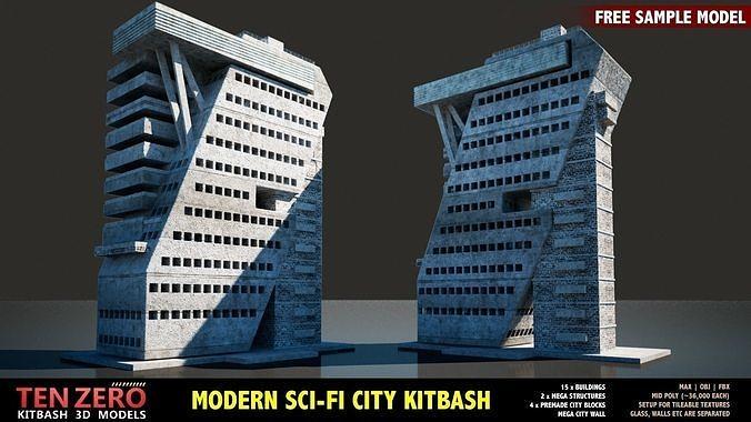 3D model FREE MODERN SCI-FI BUILDING | CGTrader